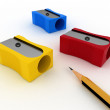 Pencil and pencils sharpeners on white — Stock Photo #11595116