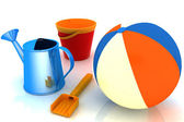 Beach ball, pail, shovel and watering can — Stock Photo