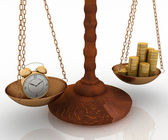 Clock and money on scales — Stock Photo