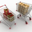Shopping cart with boxes and dollars — Stock Photo