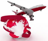 Passenger jet airplane travels around the world — Stock Photo