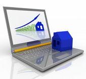 3d render ilustración aumento de las ventas de las propiedades inmobiliarias — Foto de Stock