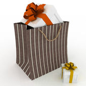 Gift box with red bow in bag for gift — Stock Photo