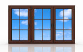 3d closed plastic window on white background — Stock Photo