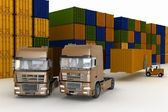 Loading of containers on big trucks in storage outdoors — Stock Photo