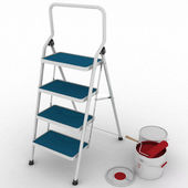 Stepladder with jars from under a red paint — Stock Photo