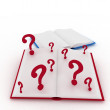 Open books and a question marks. — Stock Photo #12069501