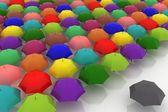 Many umbrellas are against one dark — Stock Photo