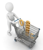 Person rolls the shopping cart with sign of percentage inwardly — Stock Photo