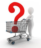 Man rolls the shopping cart with the question mark inwardly — Stock Photo