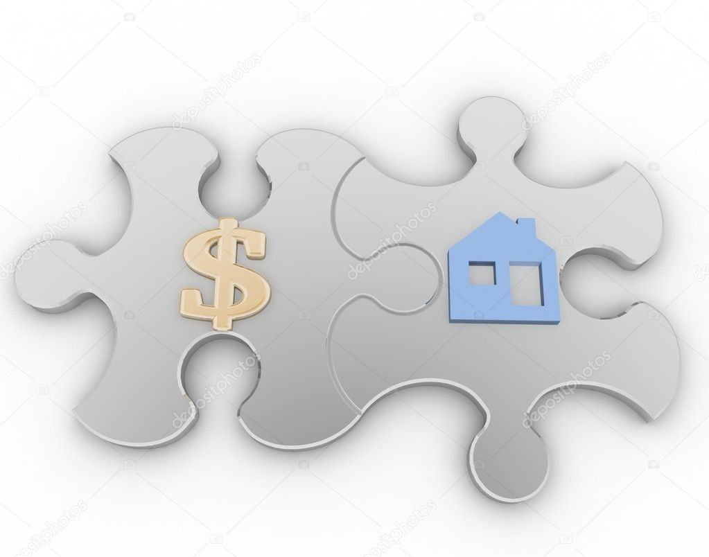 Two puzzle with symbols of home and golden dollar  on a white background — Stock Photo #12233045