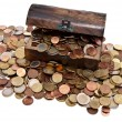 Treasure with Euro-Coins (total view) — Stock Photo