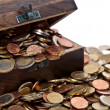 Wooden treasure box (macro view) — Stock Photo
