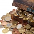 Treasure box with coins — Stock Photo