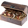 Treasure box filled with Euro-Coins — Stock Photo