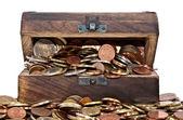 Holz schatztruhe mit euro-münzen — Stockfoto