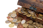 Treasure box with coins — Stockfoto