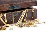 Treasure box with old jewelry (macro view) — Stock Photo
