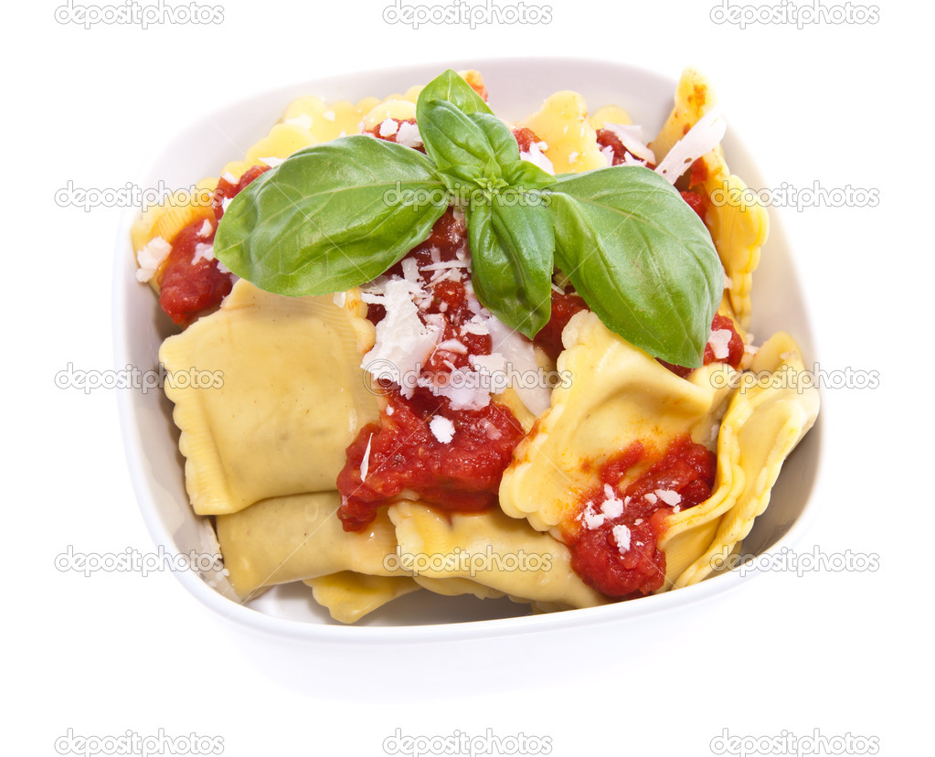 Portion of fresh Raviolis isolated on white (total view) — Stock Photo #10966105