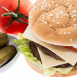 Double Burger with ingredients - Stock Photo