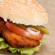 Chicken Burger on rustic background — Stockfoto #11932344