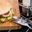 Burger on a cutting board - Stock Photo