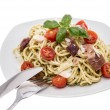 Stock Photo: Spaghetti wit Pesto Sauce on white