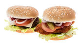 Cheeseburger and Chickenburger isolated on white — Stock Photo