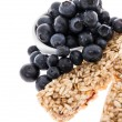 Granola Bars with Blueberries - isolated - Stock Photo