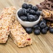 Muesli Bars with Blueberries and Chocolate — Stock Photo
