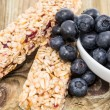 Muesli Bars with Blueberries in a bowl — Stock Photo