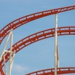 Rollercoaster rails — Stock Photo