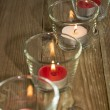 Stock Photo: Candles in glasses at daylight