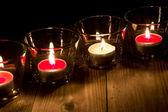 在眼镜中的蜡烛 — 图库照片