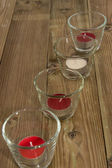 Glasses with Candels on wood — Foto de Stock
