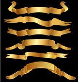 Set gold vintage banner ribbon vector — Stock Vector