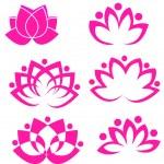 Set of pink lotus flowers logo vectors — Stock Vector #10914942