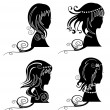 Set of women hair silhouette — Stock Vector