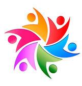 Teamwork swoosh logo vector — Stock Vector