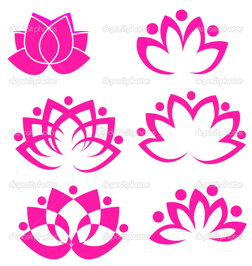 Set of pink lotus flowers logo vectors — Stock Vector #10914942