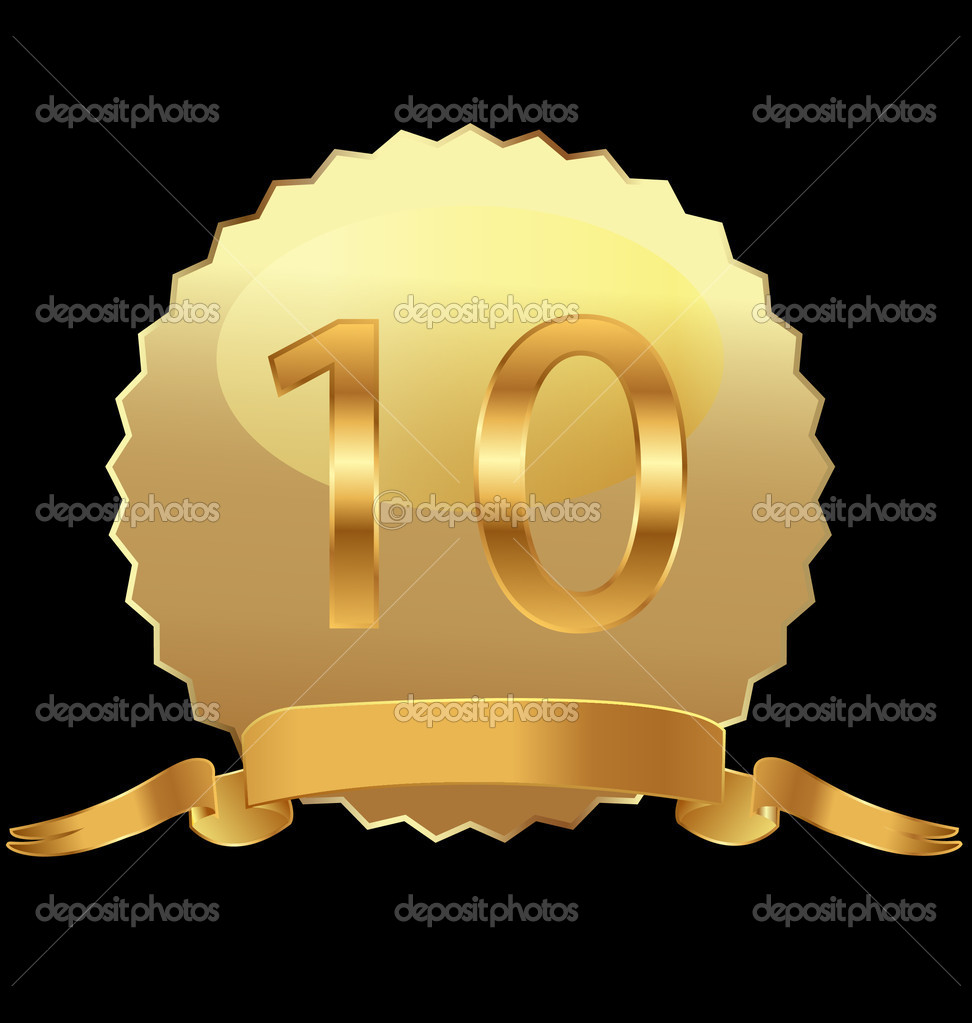 10th anniversary in gold seal vector — Stock Vector #11108881