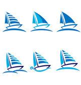 Set of boats vector logo design — Stock Vector
