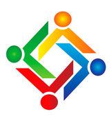 Teamwork charity logo vector — Stock Vector