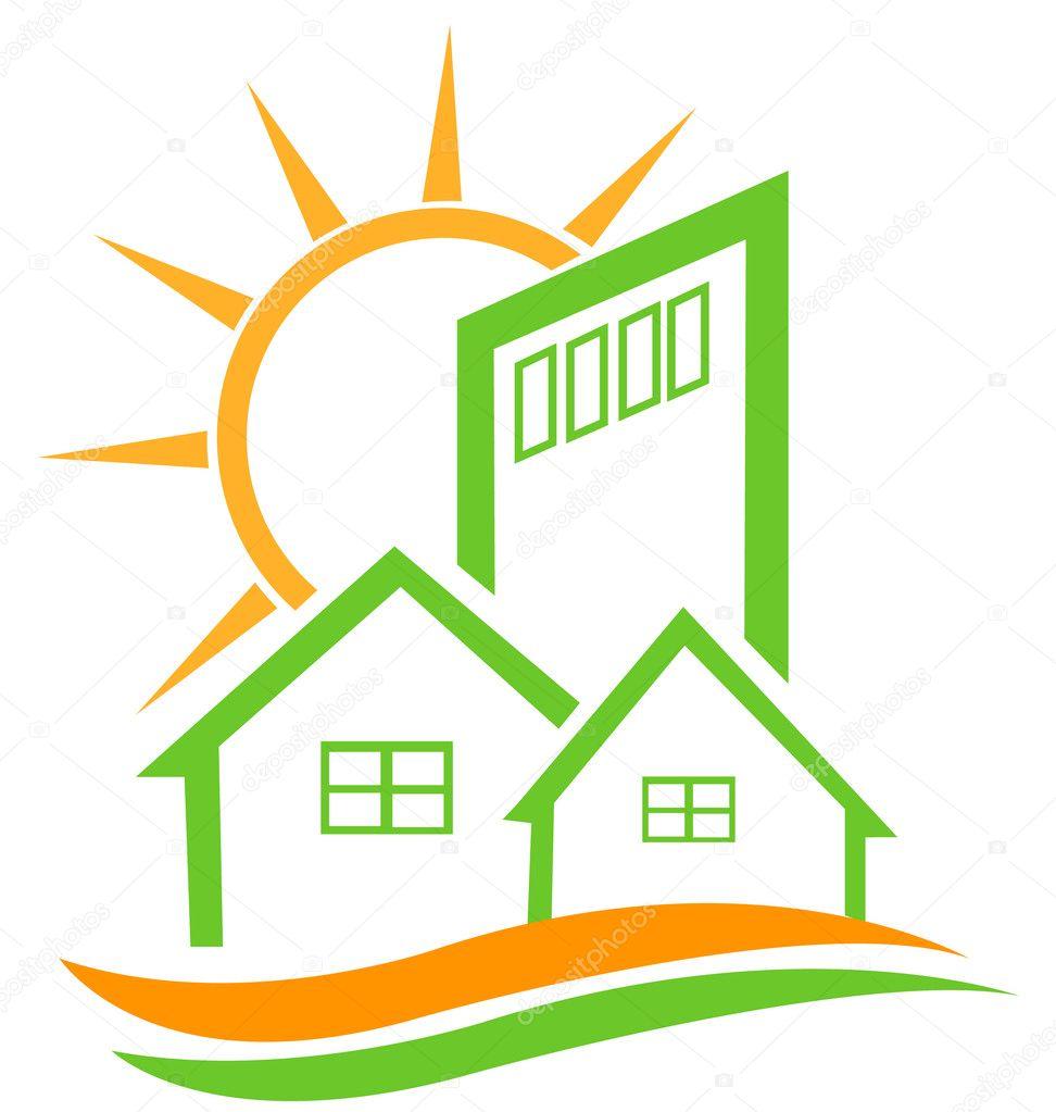 konut yeşil ev ve g252neş logosu � stok vekt246r 169 glopphy