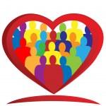 Teamwork heart logo — Stock Vector