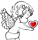 Angel with a heart silhouette — Stock Vector