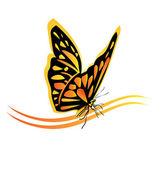 Farfalla monarca logo — Vettoriale Stock