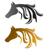 Head horses brown and black — Stock Vector