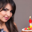 Girl holding Birthday Cake with Candles 18th — Stock Photo #11868339