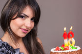 Girl holding Birthday Cake with Candles 18th — Stock Photo